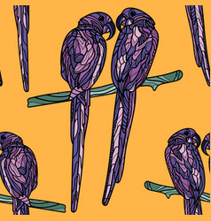 seamless pattern with violet parrots vector image