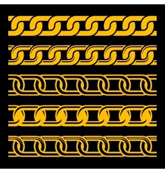 Set of Seamless Gold Chains Template Isolated on vector image vector image