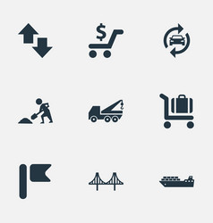 Set of simple city icons vector