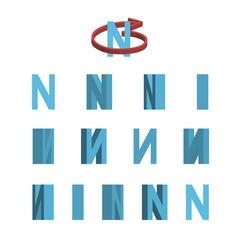 Sheet of sprites rotation of cartoon 3d letter n vector