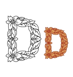 Uppercase letter d in a floral and foliate design vector