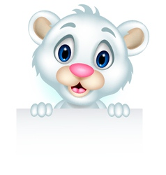 ute little polar bear holding blank sign vector image