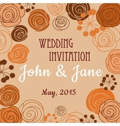 Wedding invitation template with floral border vector