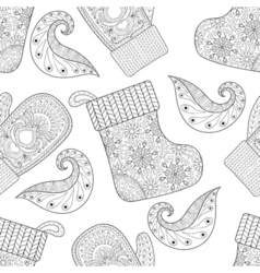 Winter knitted mittens socks seamless pattern in vector