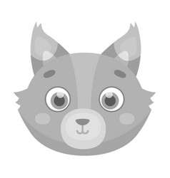 Wolf muzzle icon in monochrome style isolated on vector