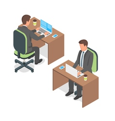 Isometric of businessman working at a computer vector