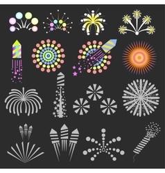 Set of fireworks design elements vector image