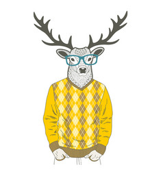 doodle dressed up deer in hipster style vector image