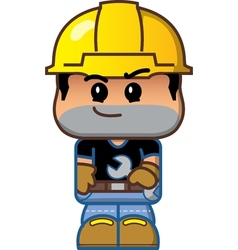 Cute cartoon construction worker vector