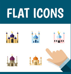Flat icon mosque set of mosque religion muslim vector