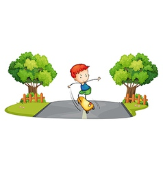 A boy skateboarding at the street vector image