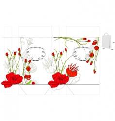Decorative bag with red flowers vector