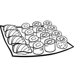 Sushi lunch cartoon coloring page vector