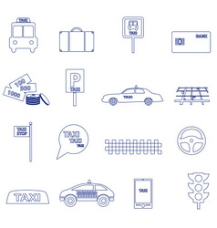 Simple taxi blue outline icons set eps10 vector