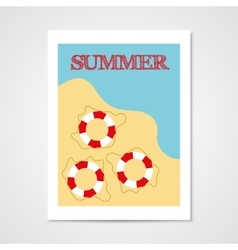 Summer poster with lifebouy vector