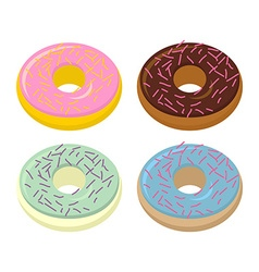 Set doughnuts sweets with different flavors vector