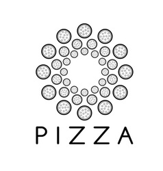 Circle of pizza design template vector