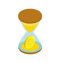 Sand clock with gold dust and coins icon vector