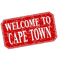 Welcome to cape town red square grunge stamp vector