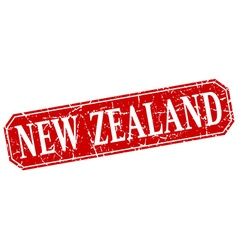 New zealand red square grunge retro style sign vector