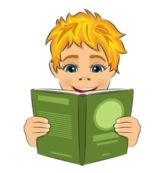 Surprised little boy reading interesting book vector