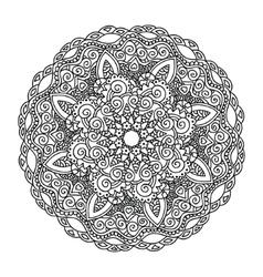 Ornament round monochrome mandala vector