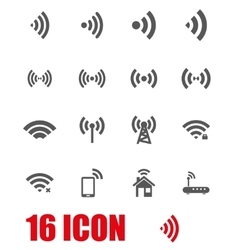 Grey wireless icon set vector