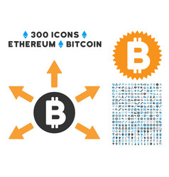 Bitcoin emission flat icon with set vector