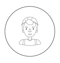 Construction worker icon in outline style isolated vector