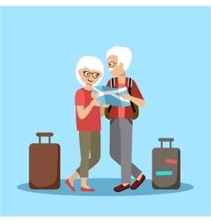 Couple of elderly people travel vector image