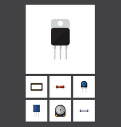 Flat icon device set of receptacle resistor vector