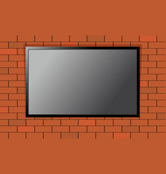 Flat modern smart tv on brick wall vector