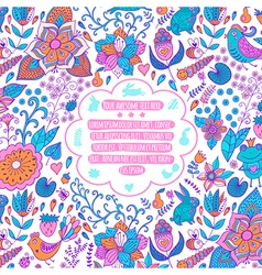 Floral background with vintage label Hand drawn vector image