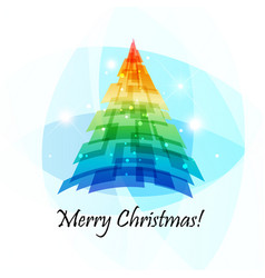Geometric christmas tree card vector