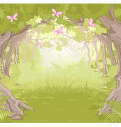 Glade in magic forest vector