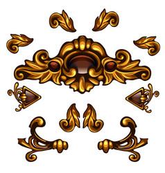 golden decorative elements floral curls arrows vector image