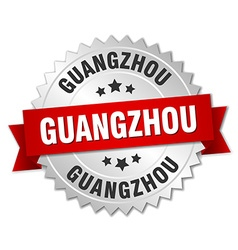Guangzhou round silver badge with red ribbon vector