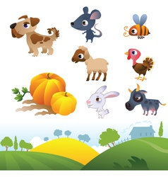 Isolated cartoon farm animals on white background vector image vector image
