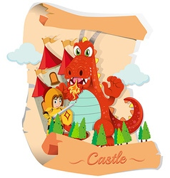 Knight and dragon at the castle vector