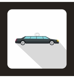 Luxury black limousine icon flat style vector image
