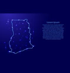 map ghana from the contours network blue luminous vector image