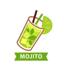 mojito green cocktail in glass with lime slice vector image