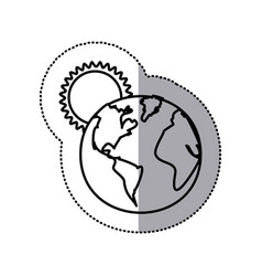 monochrome sticker contour with sunset over planet vector image