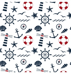 Nautical seamless pattern white vector