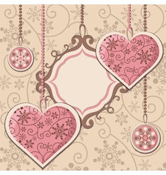New Year hearts and frame vector image vector image