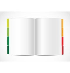 Opened paper album with color bookmarks vector