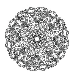Ornament round monochrome mandala vector image
