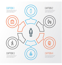 person outline icons set collection of man user vector image vector image