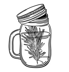 print with a beautiful jar and a sprig of rosemary vector image vector image