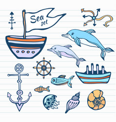 Sea life sketch hand drawn doodle set nautical vector
